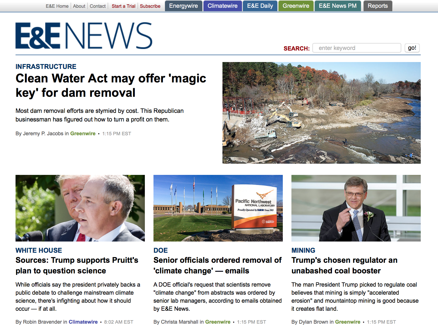 E&E News on Milburnie and Dam Removal for Mitigation